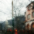 Kind on a church through rainy glass - Stock fotografie