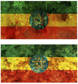 Set of two old flags of ethiopia — Stock Photo