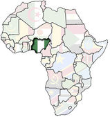 Nigeria on africa map — Stock Photo
