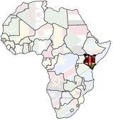 Kenya on africa map — Stock Photo