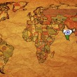 India on old map of world — Stock Photo