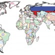 Russia on map of world — Stock Photo