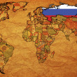 Russia on old paper map of world — Stock Photo