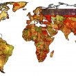Russia on isolated map of world — Stock Photo