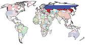 Rússia no mapa do mundo — Fotografia Stock