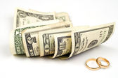 Scroll money over white — Stock Photo