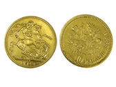 Gold coins isolated — Stock Photo