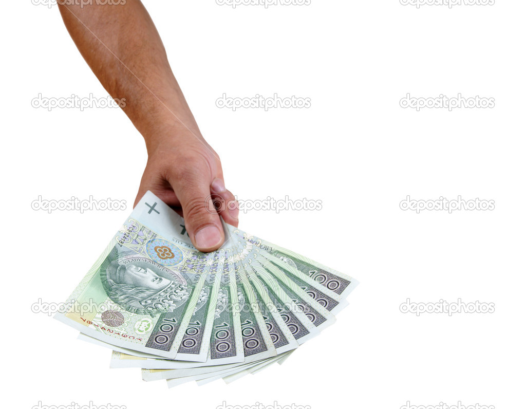 Polish banknote hundred giving isolated on white background — Stock Photo #1981662