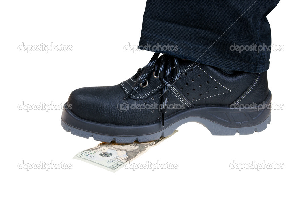 Money baknote crush under foot in black shoesisolated on white — Stock Photo #2044661
