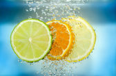 Citrus slice in water — Stock Photo