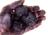 Pieces of coal in dirty palm — Stock Photo
