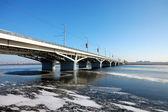 Bridge on storage pond — Stock Photo