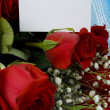 Velvet roses with note — Stock Photo