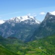 Panoramic view to the Geiranger valley — Stock Photo