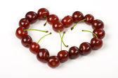 Cherry in heart's form — Stockfoto