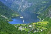 Geiranger fjord, Norway town — Stock Photo