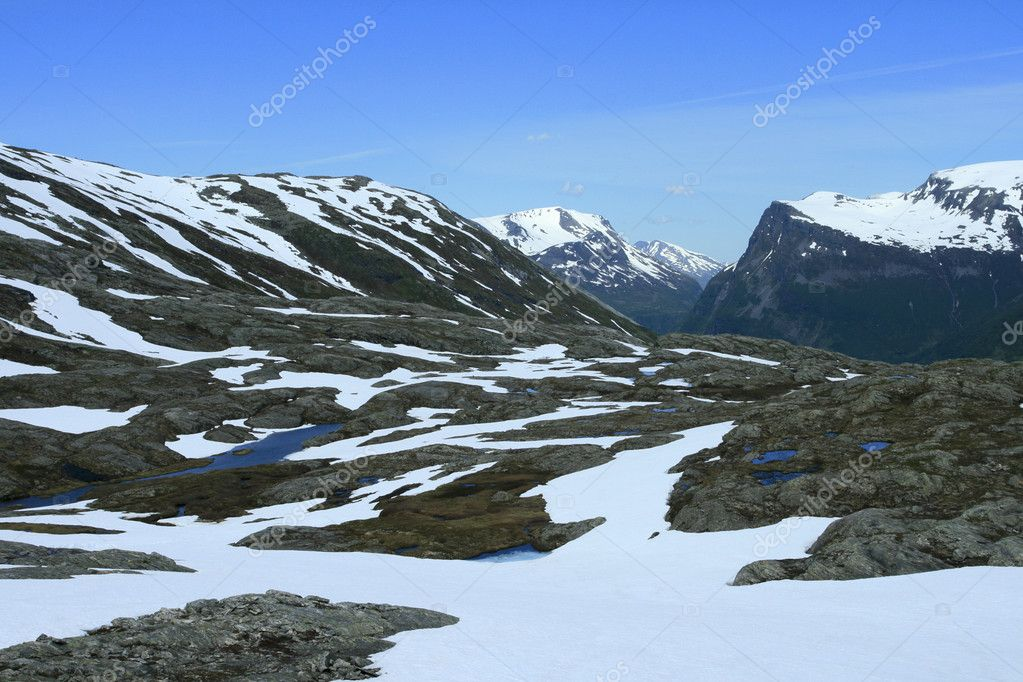 Summer in mountains, june, fjord, Norway — Stock Photo #2325453