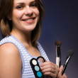 Woman with make up brushes — Stock Photo #1808246