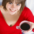 Girl with coffee — Stock Photo