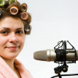 Girl with microphone — Stock Photo #1900836