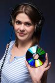 Donna tiene disco — Foto Stock