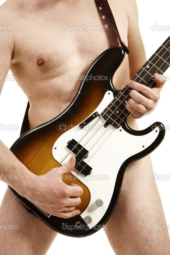 Musician bass player without clothes about a bass a guitar — Stock Photo #2573840