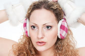 The girl with the earmuffs — Stock Photo