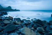 Rocky Seacoast, long time exposure — Stock Photo
