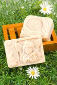 Handmade soap on green grass — Stock Photo