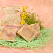 Homemade soap, decoration with flowers — Foto Stock