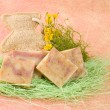 Homemade soap, decoration with flowers — Photo