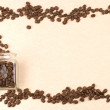Coffee beans in glass jar as frame - Stock fotografie