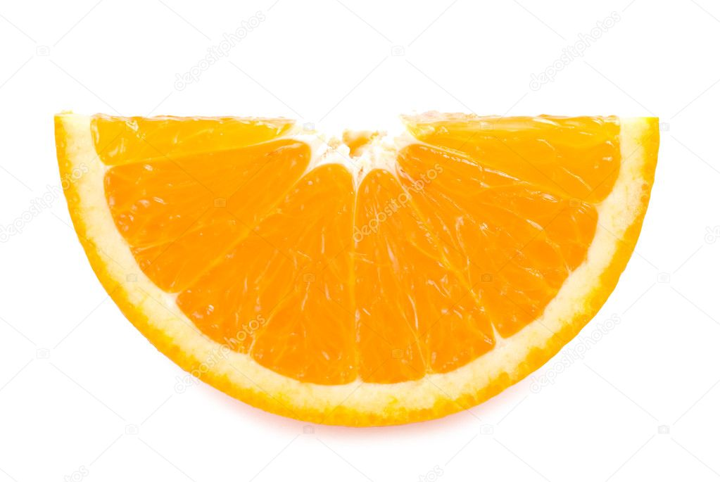 Piece of fresh orange fruit on white background — Stock Photo #2412797