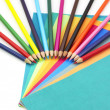 Stock Photo: Colorful pencils and papers