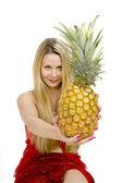 Long hair blonde pineapple — Stock Photo