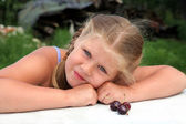 Girl with cherry — Stock Photo