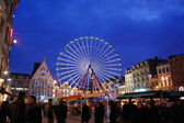 Center of Lille, the Christmas atmosphere, with a carousel, dusk — Stock Photo