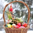 Easter basket with colored eggs — Stock Photo #2023398