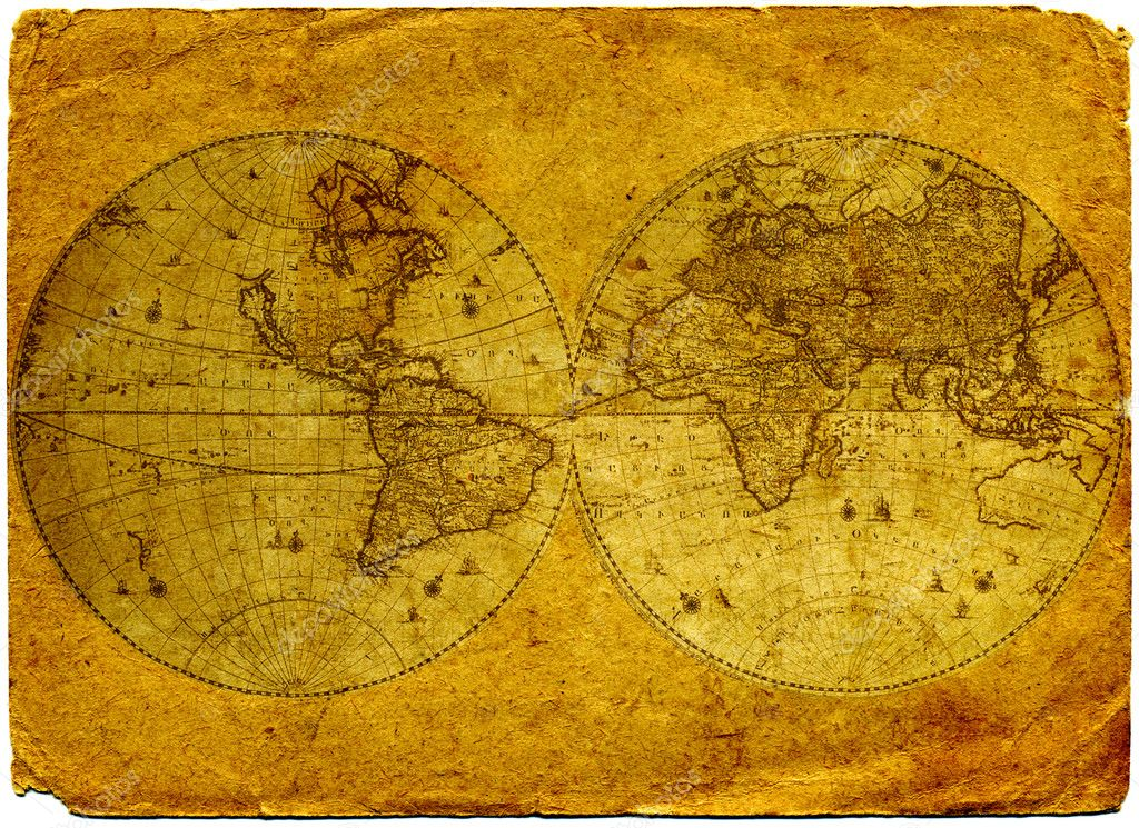 Old  paper world  map.  Stock Photo #2029174