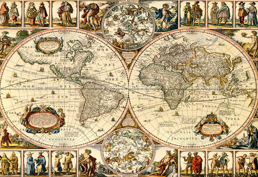 Old paper world map.  Stockfoto #2077594