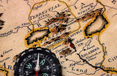 Compass and ancient map Armenia. — Stock Photo