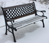 Snow-Covered Benches. — Stock Photo