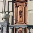 Wooden door of a church. — Stock Photo