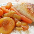Stock Photo: Stewed carrots with rice and chicken