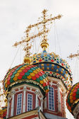 Towers and colorful cupolas of church — Stock Photo