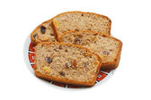 Brown cake with dried fruits — Stock Photo