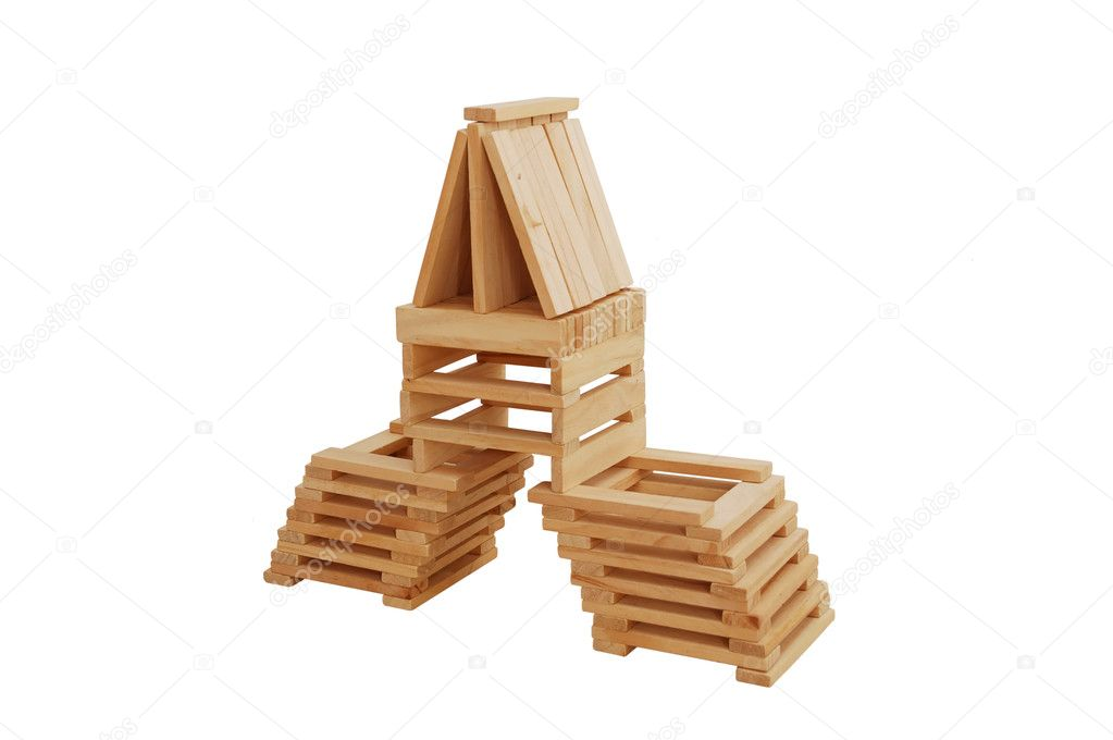 Building from wooden blocks isolated on white — Stock Photo #2114600
