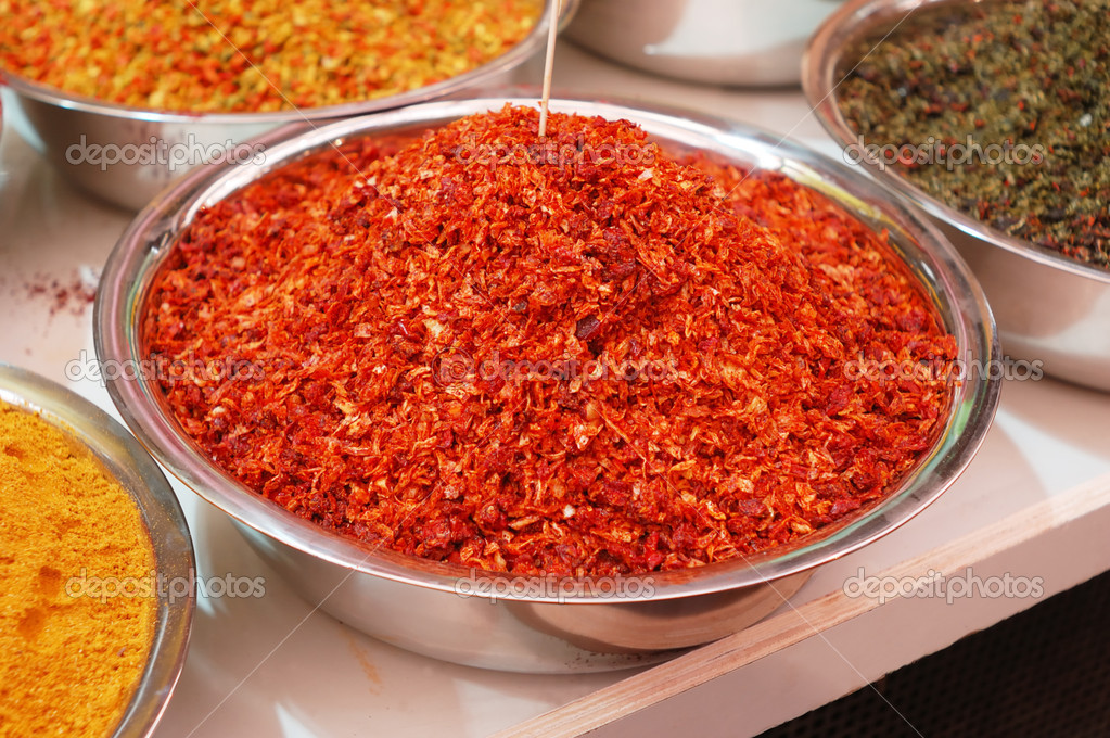 Colorful spices in bowl on market stand  — Stock Photo #2480574