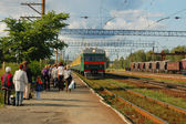 Arrival of train — Stock Photo