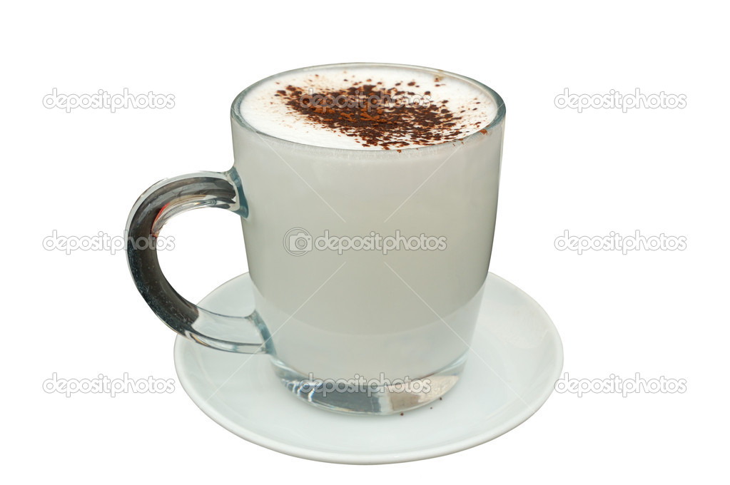 Cup of hot milk with cocoa isolated on white — Stock Photo #2515255